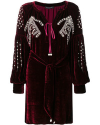 Wandering Embellished Velvet Tunic Dress
