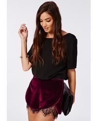 Missguided genine velvet lace hem runner shorts burgundy medium 184893