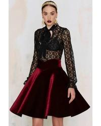 J.o.a. Joa Lips Are Sealed Velvet Skirt