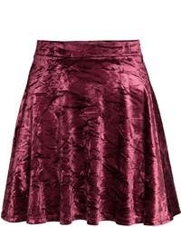 H&M Skirt In Crushed Velvet Black Ladies