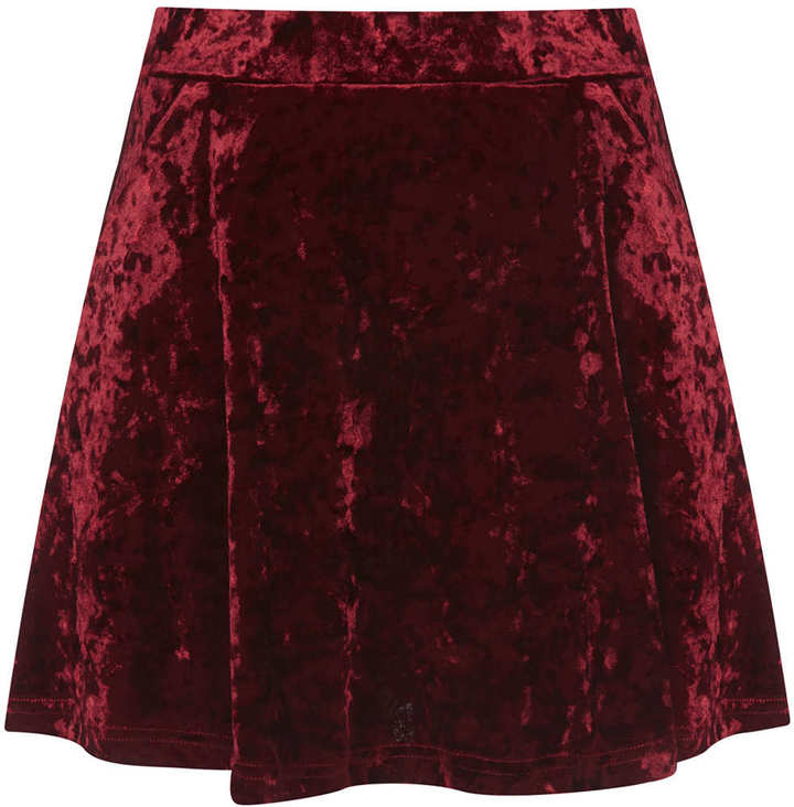2b902b29a7 Topshop Petite Red Crush Velvet Skirt, $64   Topshop   Lookastic.com
