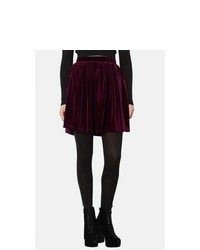 Topshop Velvet Skater Skirt