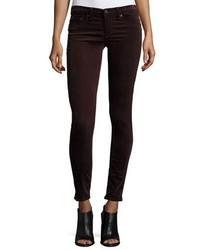 Rag & Bone Jean Velvet Skinny Jeans Wine