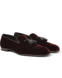 Tom Ford William Leather Trimmed Velvet Tasselled Loafers
