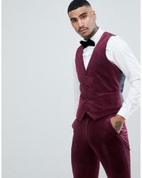 ASOS DESIGN Super Skinny Suit Waistcoat In Burgundy Velvet