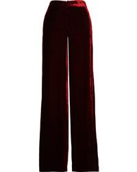 Etro Velvet Wide Leg Pants Burgundy