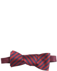 Countess Mara Navy And Burgundy Silk Koda Striped Bow Tie