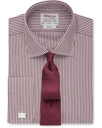 Burgundy Vertical Striped Dress Shirt