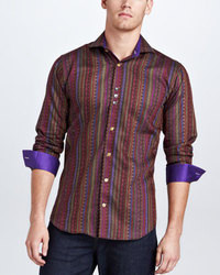 Burgundy Vertical Striped Long Sleeve Shirt