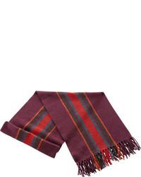 Ibex Stripe Scarf With Fringe Fire Brick Stripe Scarves