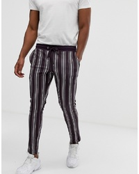 ASOS DESIGN Skinny Joggers In Poly Tricot Fabric With All Over Stripes