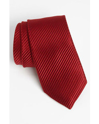David Donahue Woven Silk Tie Burgundy Regular