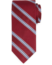Neiman Marcus Striped Textured Tie Burgundy