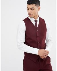 ASOS DESIGN Skinny Suit Waistcoat In Burgundy
