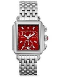 Michele Watches Deco Diamond Stainless Steel Bracelet Watch