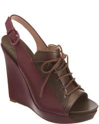 Burgundy Wedge Sandals For Women Womens Fashion Lookasticcom