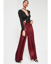 Missguided Burgundy Satin Pleat Front Wide Leg Trousers