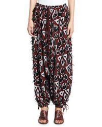 Chloe frayed jacquard harem pants burgundynavy medium 693711