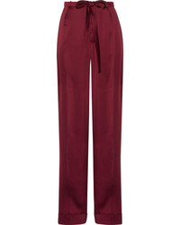 Valentino Pleated Silk Satin Wide Leg Pants Burgundy