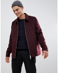 ASOS DESIGN Wool Mix Zip Through Jacket In Burgundy