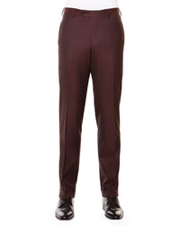 Flat front wool trousers aubergine medium 641712