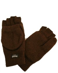 Luxury Divas Brown Rag Wool Half Finger Pocket Gloves