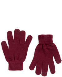 Topman Burgundy Touchscreen Gloves