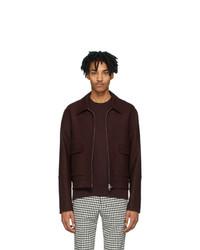 AMI Alexandre Mattiussi Burgundy Unstructured Zipped Jacket