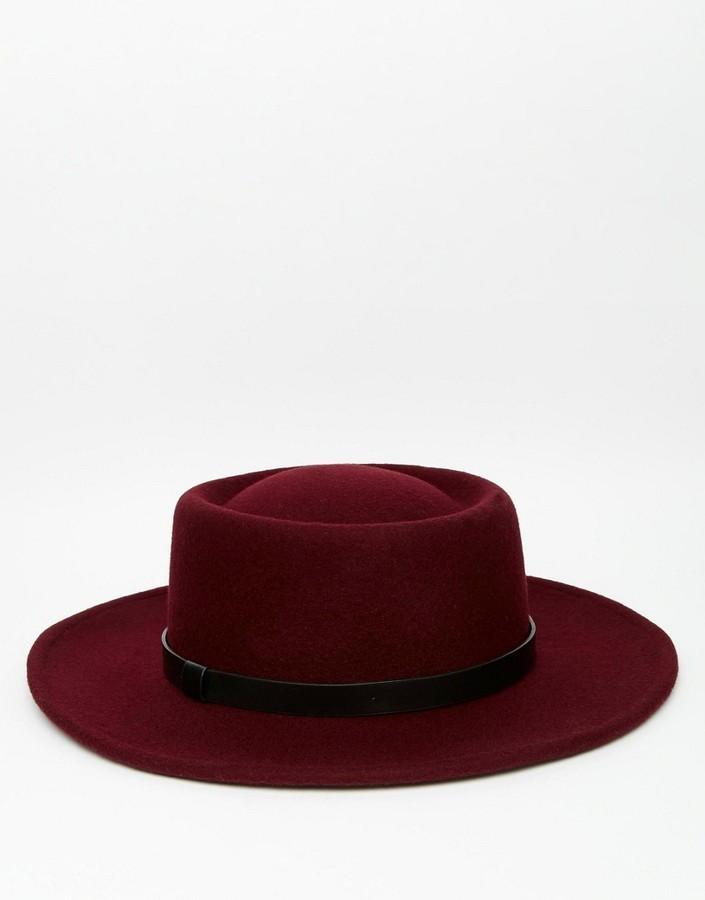 ... Asos Brand Pork Pie Hat In Burgundy With Wide Brim ... a0b0a041904