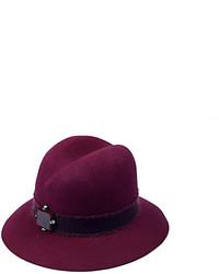 Eshvi Sloanie Burgundy Wool Hat