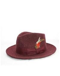 Ferrecci Burgundy Wool Fedora Hat