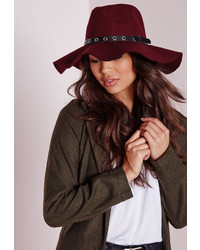 Missguided Fedora Hat Metal Trim Burgundy