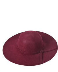 Choies Oversized Felt Fedora Hat In Wine Red
