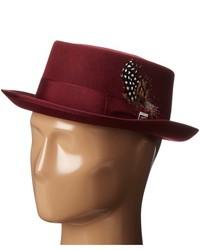 Stacy Adams Pork Pie Wool Felt Hat W Grosgrain Band Caps