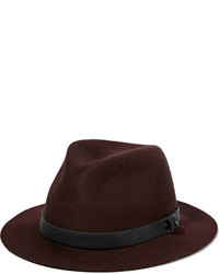 Rag and Bone Rag Bone Abbott Leather Trimmed Wool Felt Fedora