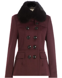 Burberry London Wool Jacket With Rabbit Fur Collar