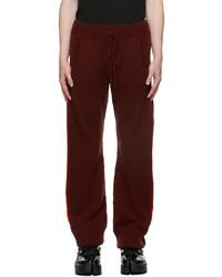 Maison Margiela Burgundy Wool Stripe Lounge Pants