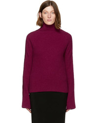 Haider Ackermann Burgundy Embroidered Indivia Turtleneck