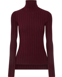 Acne Studios Corina Ribbed Merino Wool Blend Turtleneck Sweater Burgundy
