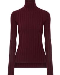 Corina ribbed merino wool blend turtleneck sweater burgundy medium 6860804