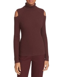 Theory Jemliss Evian Cold Shoulder Wool Blend Turtleneck