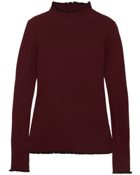 Carven Ribbed Merino Wool Blend Turtleneck Sweater Burgundy