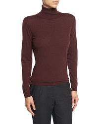 Lafayette 148 New York Wool Turtleneck Long Sleeve Sweater Cabernet