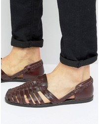 Asos Woven Fisherman Sandals In Burgundy Leather