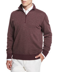 Burgundy Zip Neck Sweater