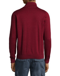 Lacoste Half Zip Knit Pullover Sweater Dark Red | Where to buy ...
