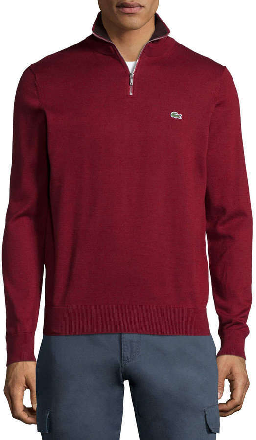 086e901345c2 ... Lacoste Half Zip Knit Pullover Sweater Dark Red ...