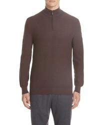 Ermenegildo Zegna Quarter Zip Cotton Silk Pullover