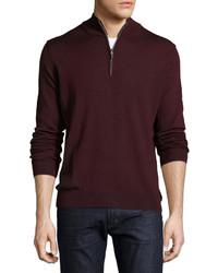 Neiman Marcus Wool Blend Quarter Zip Mock Neck Sweater Sangria