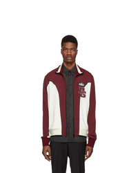 Dolce and Gabbana White And Burgundy Logo Track Jacket